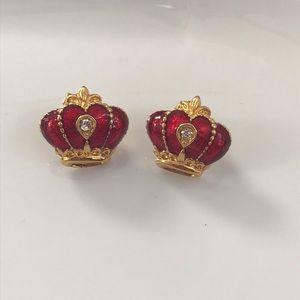 Avon Enamel Crown Earrings